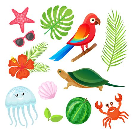 Parrot bird, fern leaves, crab and shell, jellyfish and watermelon, sunglasses and starfish. Summer elements or tropical objects isolated on white vector