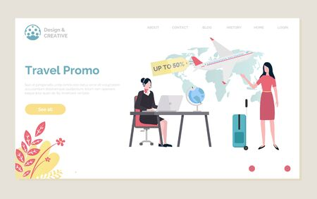 Travel promo 50 percent off vector, proposition from travel agency sale on tours and touristic destinations, client at office with valise, operator.Website or webpage template, landing page flat style
