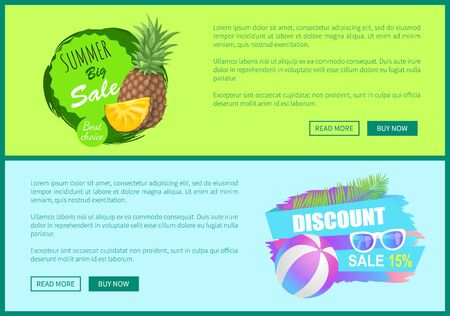 Summer big sale posters set with text sample. Pineapple and ball for playing games at beach. Accessory protecting from sun, sunglasses discount vector