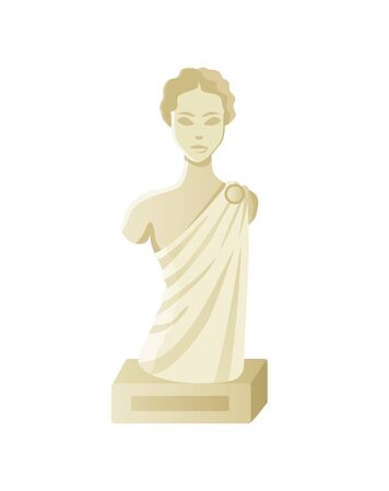 Bust of woman, stone antique sculpture, element of exhibition, portrait view of lady monument, goddess female, goddess model, statue for museum vector Illustration