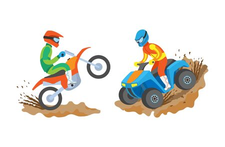 Extreme sports of men vector, isolated people going in professional sporting and activities, male on motorbike, quad biking hobby of person in uniform