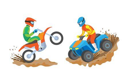 Sports extrêmes d'hommes vectoriels, personnes isolées pratiquant des activités sportives et professionnelles, hommes à moto, passe-temps de quad de personne en uniforme Vecteurs
