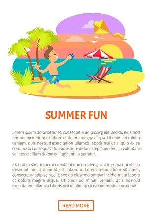 Summer fun, boy running along beach coastline with wind kite, sunset and relaxation by seaside, exotic tourism. Sunbed on coastline. Website or webpage template, landing page flat style, vector
