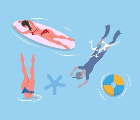 Kobieta nurkująca pod nogami, mężczyzna w płetwach i masce, pani opalająca się na desce surfingowej, nadmuchiwany pierścień i rozgwiazda w błękitnych wodach. Ludzie odpoczywają nad morzem, lato