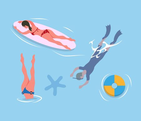 Woman diving legs up, man in flippers and mask, lady suntanning on surfboard, inflatable ring and sea star in blue waters. People resting at seaside, summertime