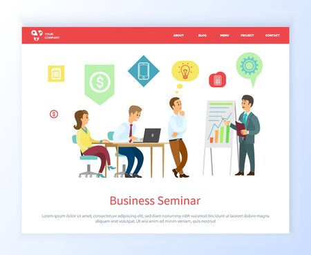 Business seminar vector, people on conference listening to leader and proposing ideas for solution of project. Boss with workers on meeting. Website or webpage template, landing page flat style Çizim