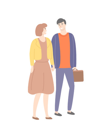 Man and woman holding hands vector isolated couple. Male and female in love, guy with suitcase, lady in dress, people in casual cloth walking and flirting Illustration