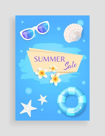 Summer sale shaped ribbon, vector banner leaflet sample. Inflatable ring and sun glasses, seashell and starfish, exotic flower isolated on round spots