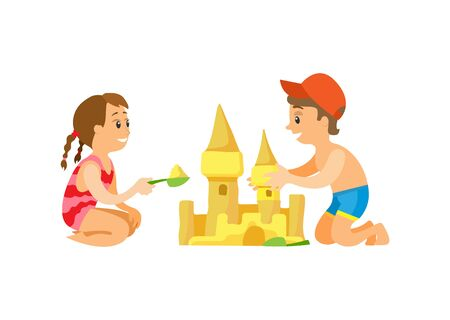 Summer beach, children building sand castle vector. Girl and boy in swimwear, vacation on seaside, construction with plastic scoops, isolated characters