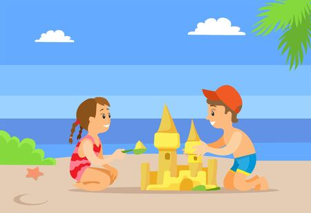 Girl in dress and boy in shorts making sand castle, summertime activity. Green plant and starfish, cloudy weather, friends playing on beach vector