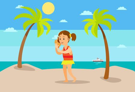Summer vacation at beach vector, seaside relaxation under hot sun. Girl listening to seashell, conch with sound of sea, ship and tree plants exotic