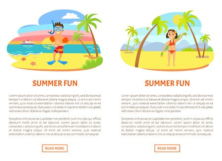 Summer fun poster of boy wearing underwater mask, flippers and inflatable circles. Girl in swimsuit holding towel on back, portrait view of children vector Illustration