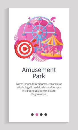 Amusement park poster decorated by ferris wheel, darts and merry-go-round. Round entertainment objects with cabins or horses, shiny attraction vector. Slider for park app attraction application Иллюстрация