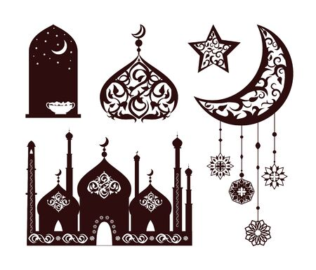 Oriental ornaments on different black silhouettes vector illustration of isolated on white background star moon, eastern mosque, nightscape in window Illustration