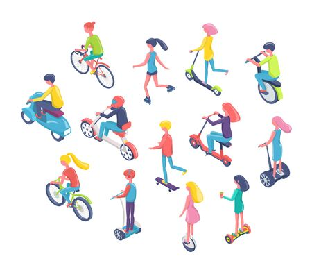 People using eco transport vector, man and woman riding bikes an scooters flat style. Isolated teenagers on bicycles and modern hoverboards flat style Stock Vector - 124976885