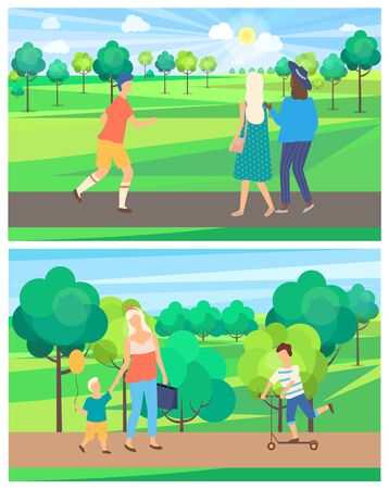 Mom and son, child on scooter, running male and walking girls in park, trees decoration. Full length view of people outdoor, weekend and nature vector 向量圖像