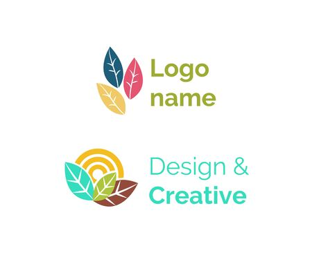 name vector, isolated icon of design and creative in flat style. Business concept and representation of corporation. Leaves and ecology sign