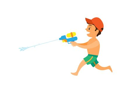 Boy shooting squirt gun, side view of running kid wearing shorts and cap, child playing water game, summer activity, smiling teenager, songkran vector Illustration
