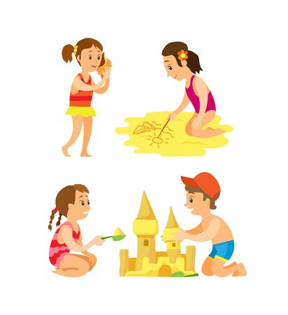 Friends sitting on beach and making castle, drawing on sand, girl putting seashell on hear. Set of summer activity, people isolated on white vector