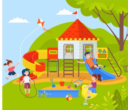 Playground filled with kids vector, park and nature with greenery and trees, boys and girls playing together, wooden construction castle with flag. Children play on park attraction Illustration