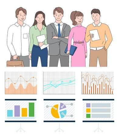 Infocharts with data on business project vector, man and woman working together on development of project and success. Teamwork with infographics