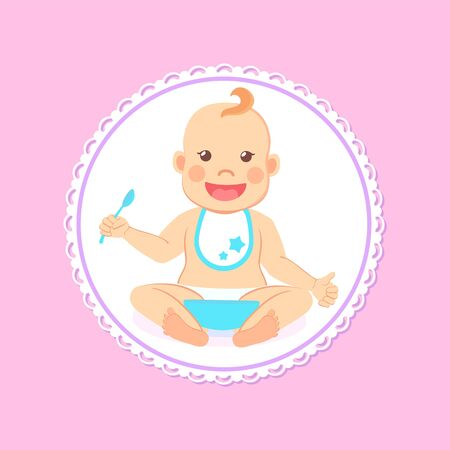 Baby shower greeting card, infant boy eats itself. Vector toddler in bib and diaper with spoon and bowl of porridge, 6 to 12 month milestones of newborn kid