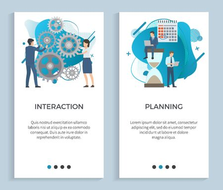 Interaction vector, people with cogwheels planning business projects thinking on details, teamwork deadlines stated for businessman with calendar. Website or app slider, landing page flat style