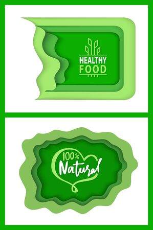 Organic food and supplies vector, isolated set of green , foliage vegetable elements, apple and plants with leaves natural meal and ingredients Stock Illustratie