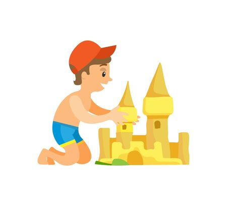 Summer beach, boy in swim trunks and cap building sand castle vector. Vacation and holiday on seaside, outdoor summer activity, isolated child or kid Ilustrace