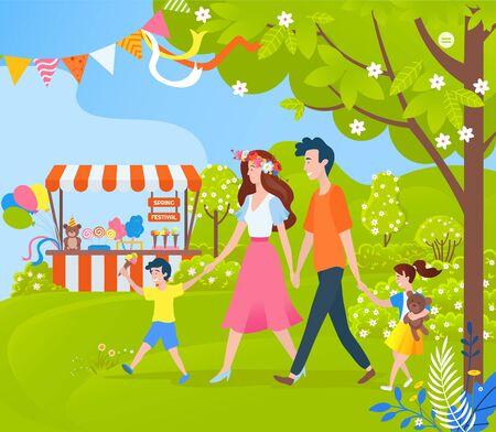 Spring festival and celebration in park vector, family consisting of mother and father spending time together, holiday relaxation outdoors on nature