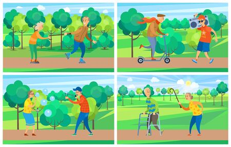 Pensioners activity, rollerblading and walking, moving on scooter, going with record player, blowing soap bubble and targeting with catapult in park vector