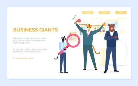 Business giants vector, raccoon holding magnifying glass, tiger and bear hipster animals wearing formal suits workers successful team and teamwork. Website or webpage template, landing page flat style