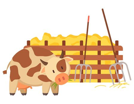 Cow domestic animal giving milk vector, isolated character with spots on fur walking along wooden fence with hay fork and instruments for agriculture