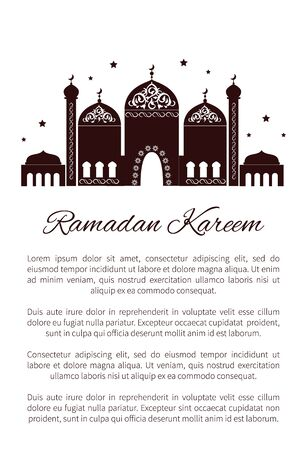 Ramadan Kareem postcard with Mosque and text sample, place of worship for Muslims with arabic ornaments on elaborate domes, minarets vector banner