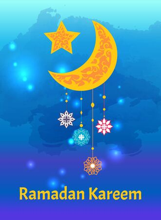 Ramadan Kareem crescent moon and star, internationally-recognized symbol of Islam decorated by ornamental trinket vector poster, religious symbols
