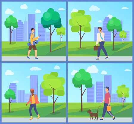 Man going in park near buildings and trees, person walking with dog, teenager holding skateboard, boy rollerblading in casual clothes, leisure vector Vectores