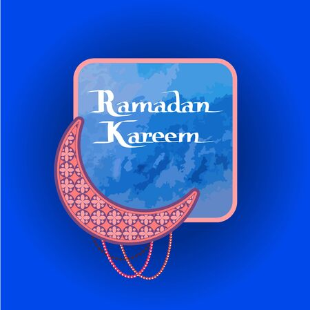 Ramadan Kareem poster with crescent, muslim prayer beads and text sample in frame for info, arabic symbol of Moon vector illustration isolated on blue Foto de archivo - 126337167