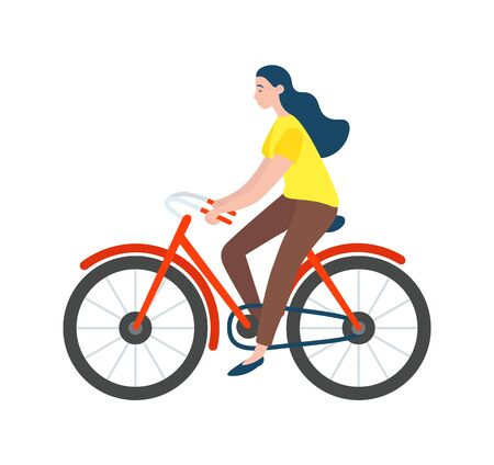 Woman riding on bike isolated vector cartoon character. Vector female bicyclist cycling on modern eco transport profile view. Active way of life, healthy lifestyle Illustration