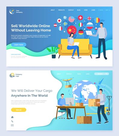We deliver your cargo anywhere in world, delivery and selling business, people working from home and cooperating with different countries. Website or webpage template, landing page flat style