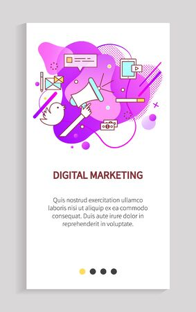 Digital marketing vector, innovation in business using new social media and different tools to reach audience and potential clients, loudspeaker. Website or app slider, landing page flat style