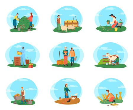 People farming and gardening vector, milkmaid with cow, male with wheat on field and couple of gardeners cutting bushes of flowers, sheep and hens