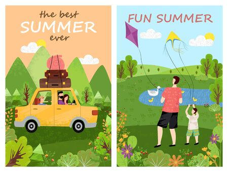 Fun summer vector, car loaded with baggage and luggage, people sitting in automobile ready for traveling and adventures, father and kid by lake with kite