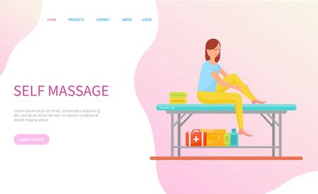 Woman making self massage, girl sitting on table with towels and cosmetics. Healthcare and relaxation of person, treatment and therapy, web page vector Illustration