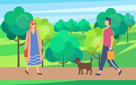 Woman and man with dog on walk in city park. Vector female in sunglasses having fun outdoors. Person wearing casual clothes and cap with domestic animal