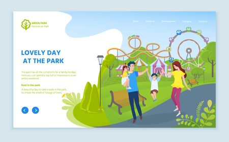 Lovely day at park vector, family spending time with kid, parenting and child. Ferris wheel and carousels for adults and kiddos fun weekends. Website or webpage template, landing page flat style
