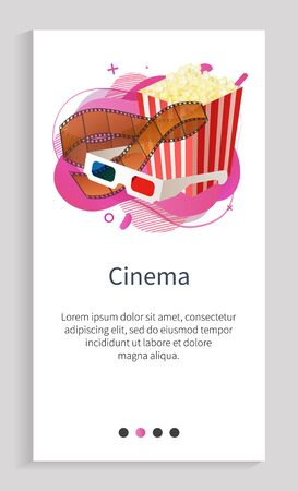 Cinema poster decorated by striped box with popcorn, glasses for watching in 3d format, movie retro roll. Media equipments, film decorations vector. Slider for cinema app entertainment application