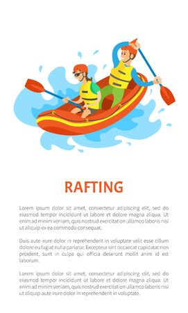 Rafting extreme sport postcard decorated by man and woman sitting on inflatable rubber boat, holding oars. People wearing helmet and life vest vector