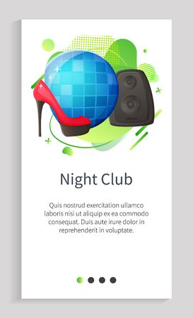 Disco ball and speaker equipment high heel shoe, night club modern objects with ribbon. Discotheque icons, party elements, audio and fashion vector. Slider for night club app entertainment application Foto de archivo - 126337205