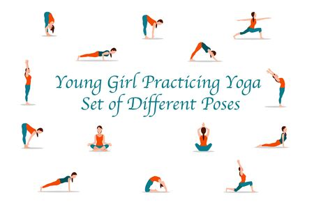 Young girl practicing yoga set of different poses vector, person wearing special comfortable sportswear isolated lady relaxing body, variety of asanas