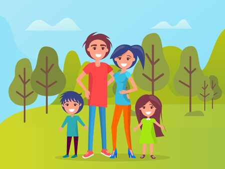 Family members smiling vector, father and mother cuddling, kids standing by parents. Boy and girl son and daughter on weekend, nature of forest area